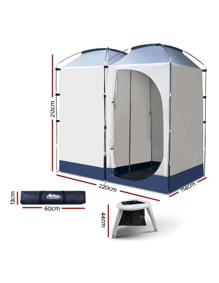 Double Camping Shower Tent Portable Toilet Outdoor Change Room Ensuite image 2