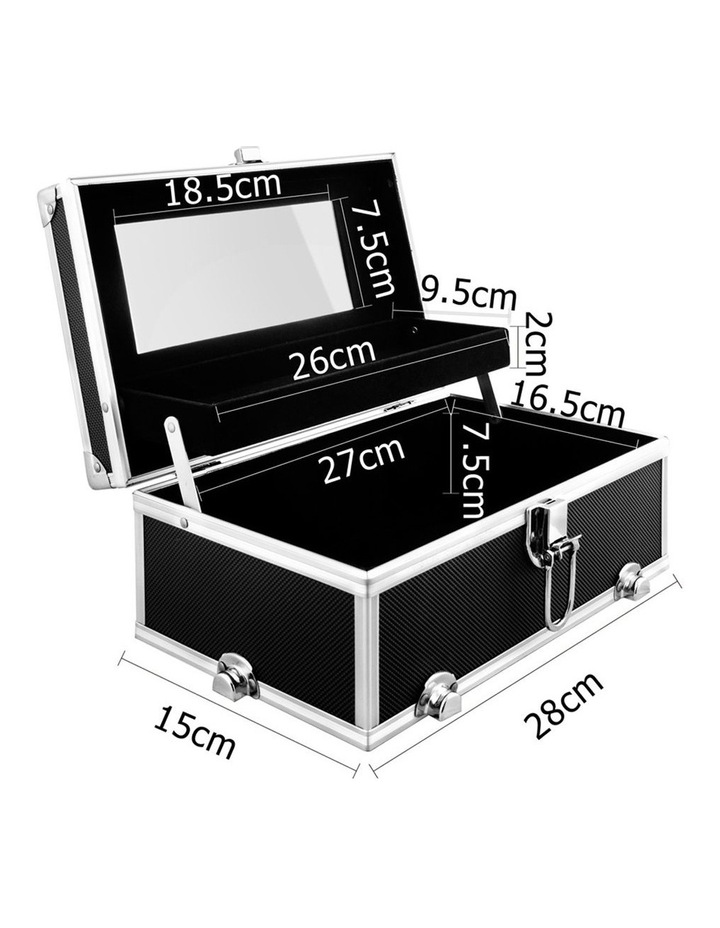 Portable Cosmetic Beauty Makeup Carry Case with Mirror - Black image 2