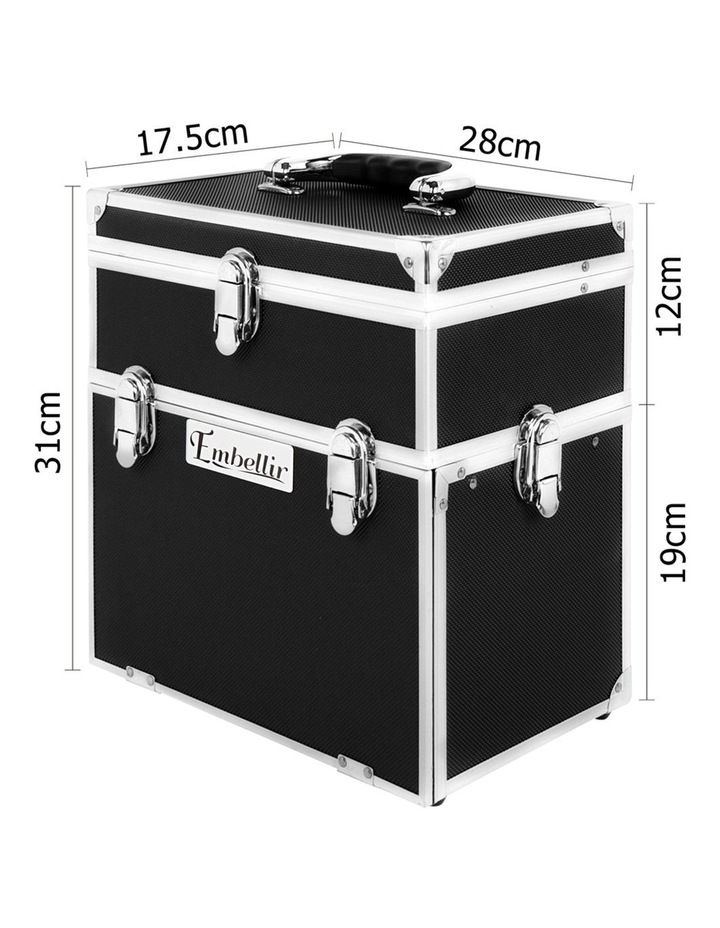 Portable Cosmetic Beauty Makeup Carry Case with Mirror - Black image 4