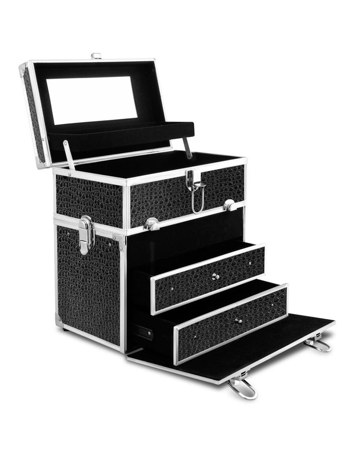 Portable Cosmetic Beauty Makeup Carry Case with Mirror - Crocodile Black image 1