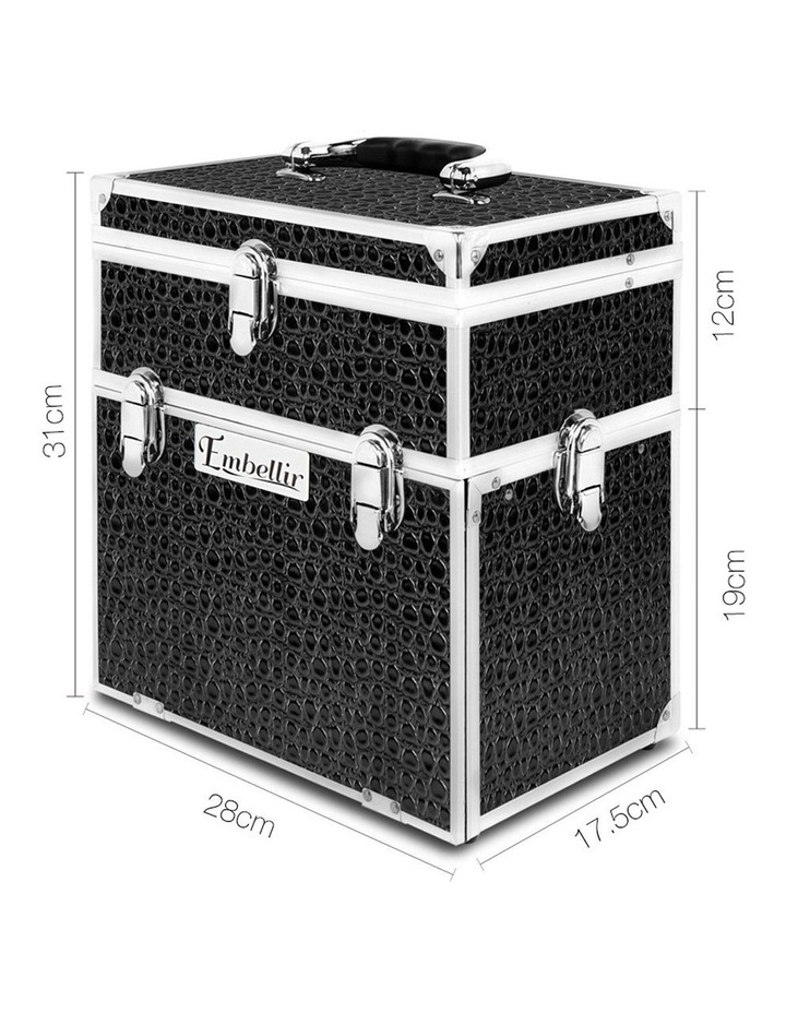 Portable Cosmetic Beauty Makeup Carry Case with Mirror - Crocodile Black image 2