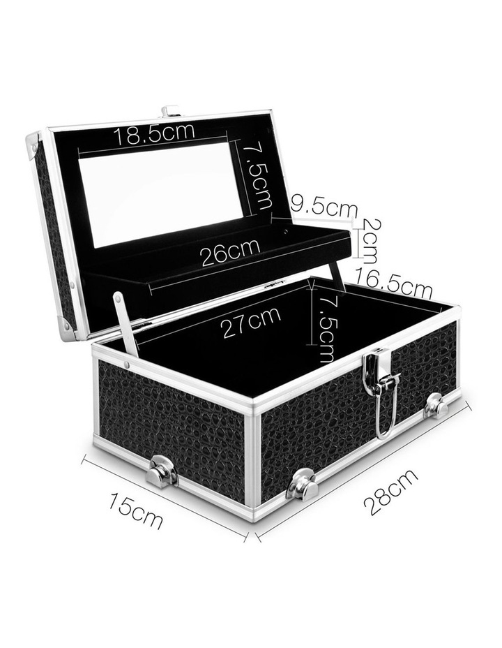 Portable Cosmetic Beauty Makeup Carry Case with Mirror - Crocodile Black image 3