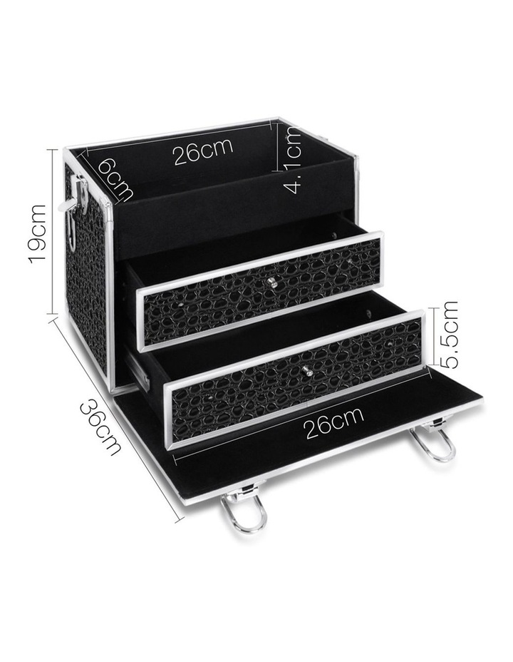 Portable Cosmetic Beauty Makeup Carry Case with Mirror - Crocodile Black image 4