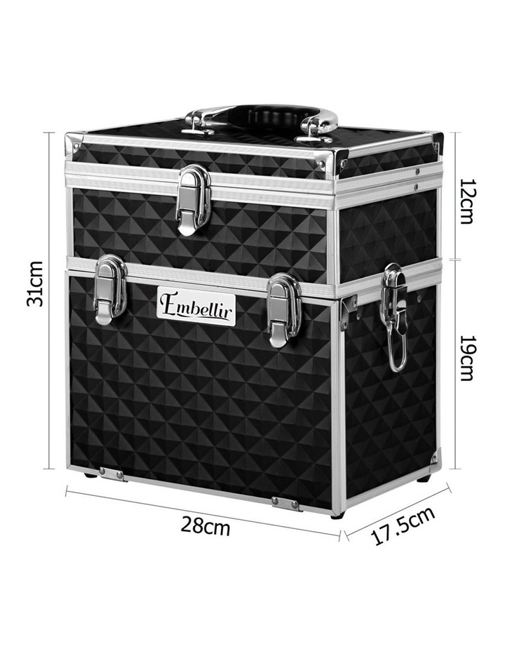 Portable Cosmetic Beauty Makeup Carry Case with Mirror - Diamond Black image 2