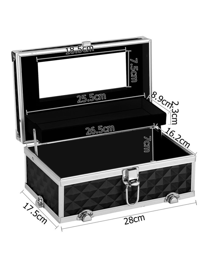 Portable Cosmetic Beauty Makeup Carry Case with Mirror - Diamond Black image 3