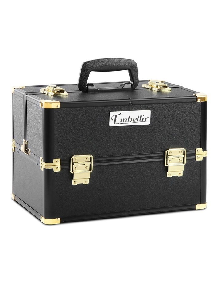 Portable Cosmetic Beauty Makeup Case - Black & Gold image 1