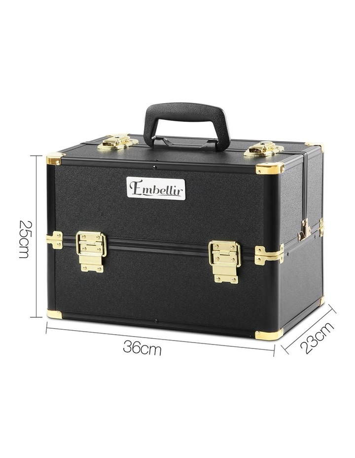 Portable Cosmetic Beauty Makeup Case - Black & Gold image 2