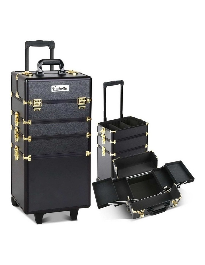 7 in 1 Portable Cosmetic Beauty Makeup Trolley - Black & Gold image 1