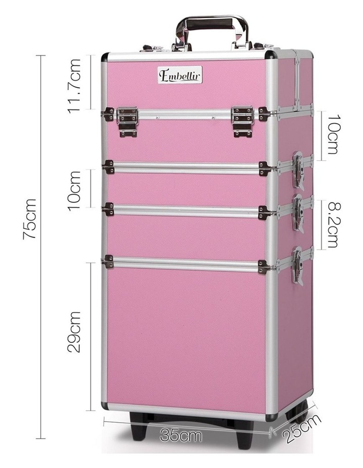 7 in 1 Portable Cosmetic Beauty Makeup Trolley - Pink image 2