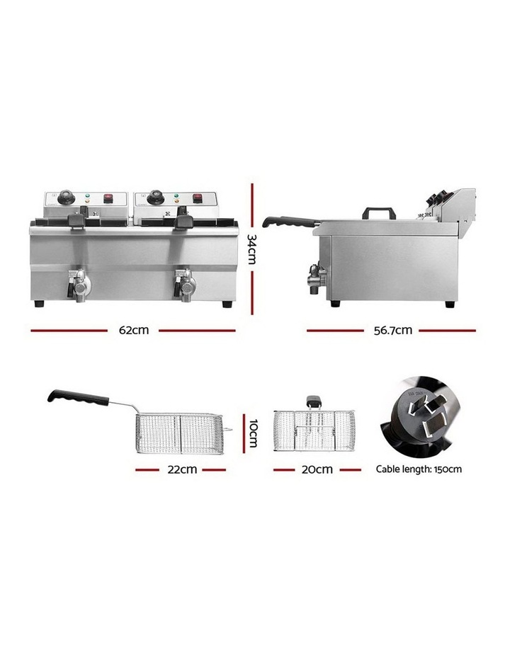 Commercial Electric Deep Fryer Twin Frying Basket Chip Cooker Countertop image 3