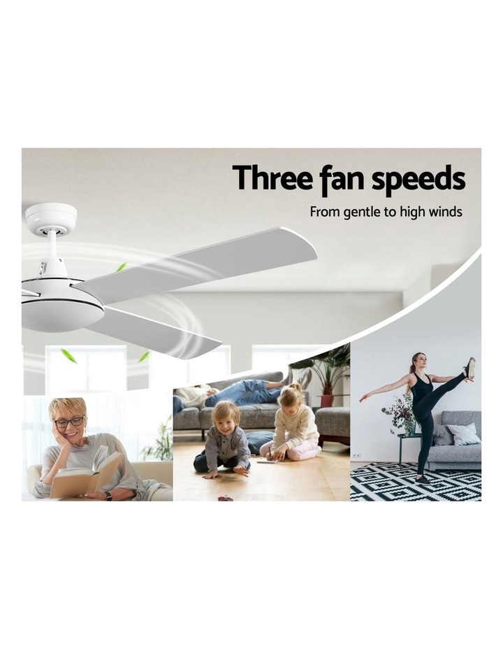 52'' 1300mm Ceiling Fan Wall Control 4 Wooden Blades Cooling Fans Black image 3