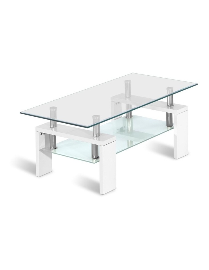 Coffee Table 2 Tier Tempered Glass Stainless Steel Storage Shelf image 1