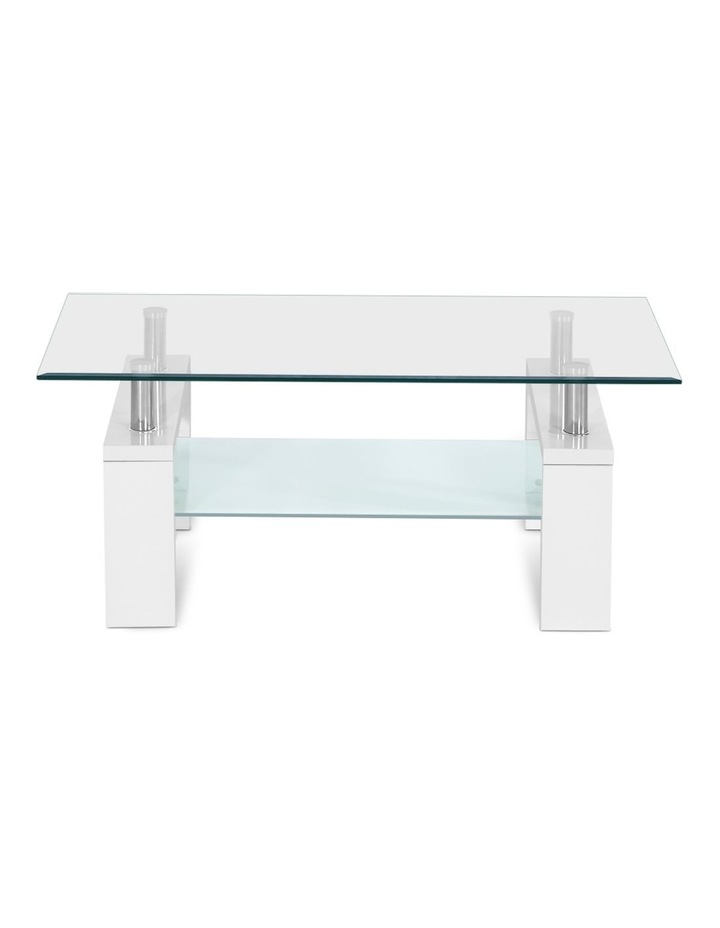 Coffee Table 2 Tier Tempered Glass Stainless Steel Storage Shelf image 3