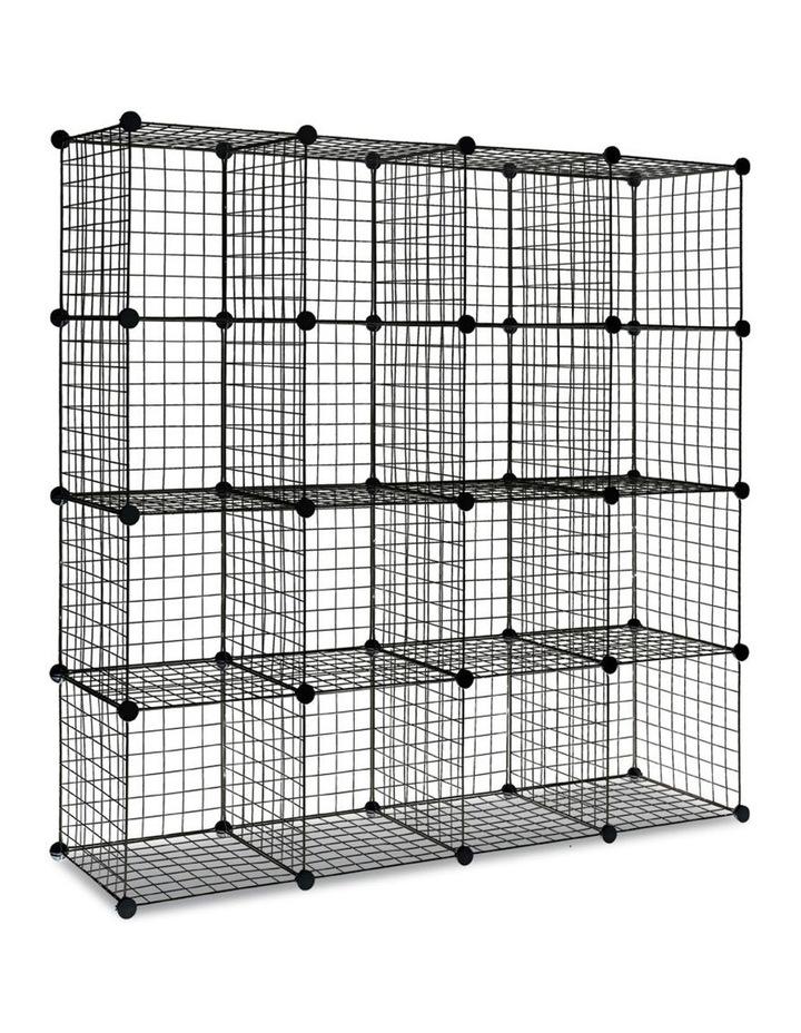 16 Cube Metal Wire Storage Cabinet - Black image 1