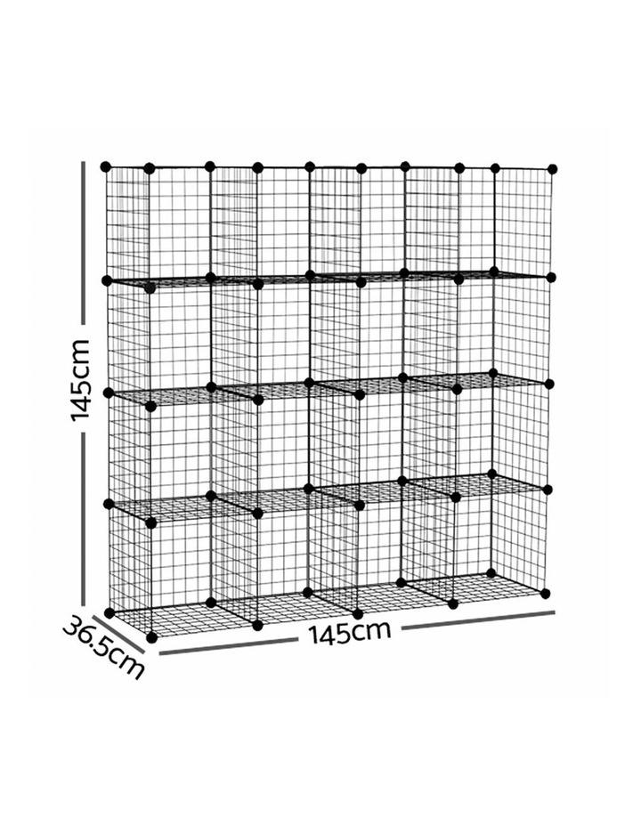 16 Cube Metal Wire Storage Cabinet - Black image 2
