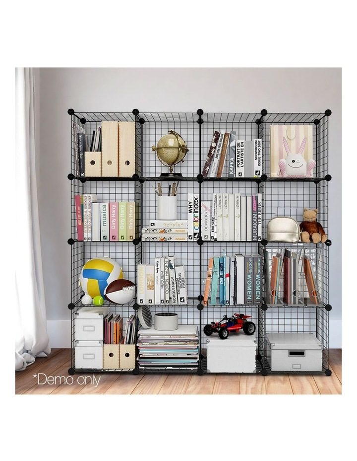 16 Cube Metal Wire Storage Cabinet - Black image 3