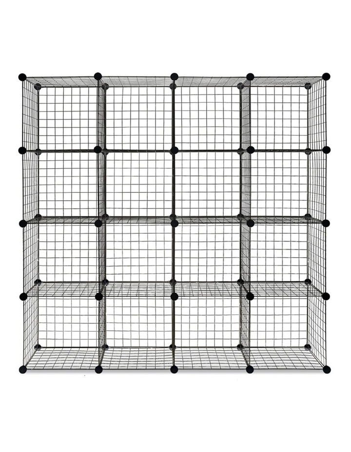 16 Cube Metal Wire Storage Cabinet - Black image 5