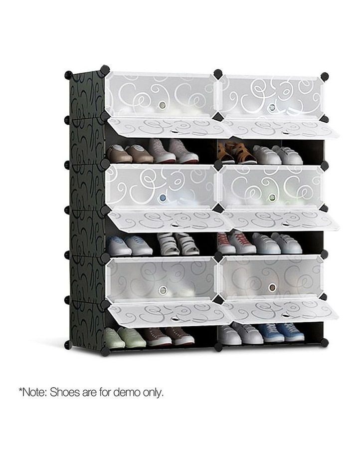 12 Cube Diy Stackable Shoe Rack Storage Cabinet - Black & White image 1