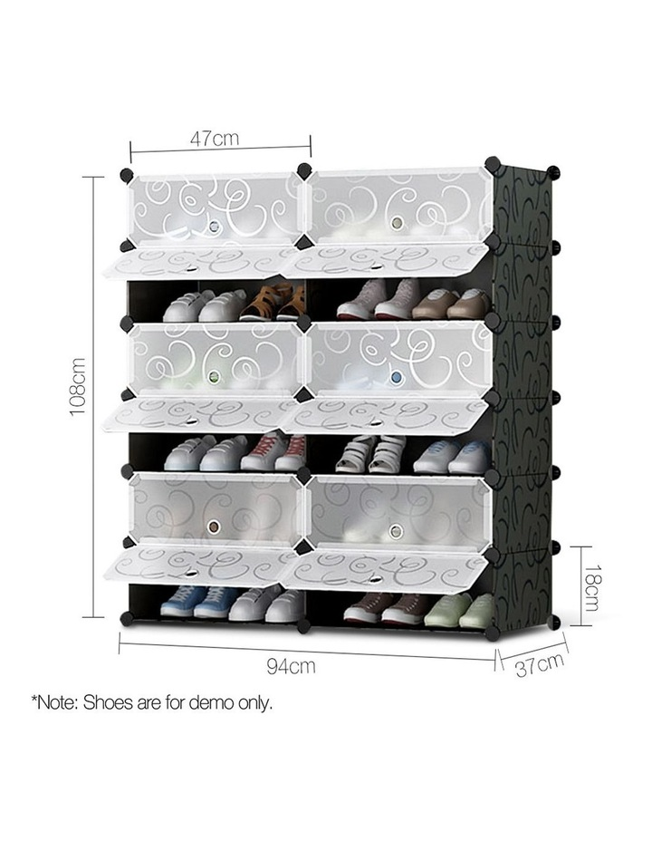 12 Cube Diy Stackable Shoe Rack Storage Cabinet - Black & White image 2