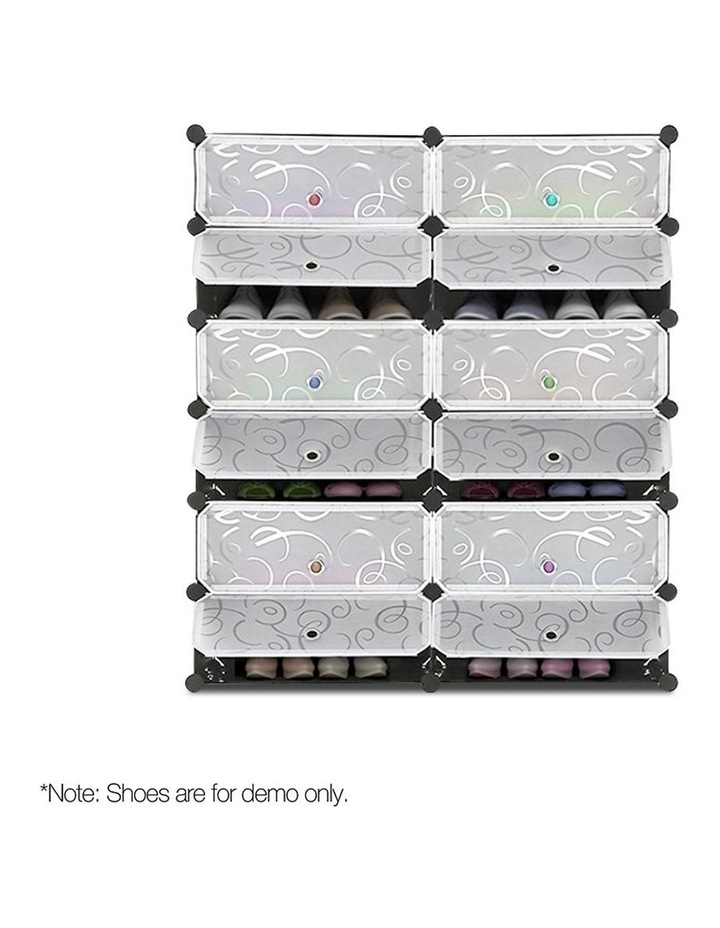 12 Cube Diy Stackable Shoe Rack Storage Cabinet - Black & White image 3