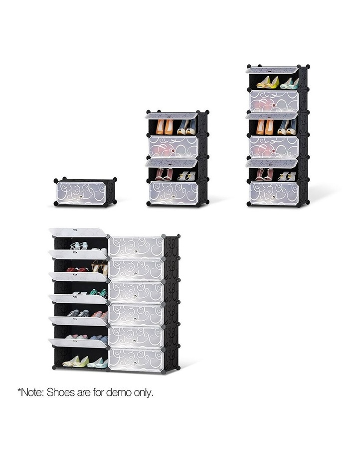 12 Cube Diy Stackable Shoe Rack Storage Cabinet - Black & White image 6