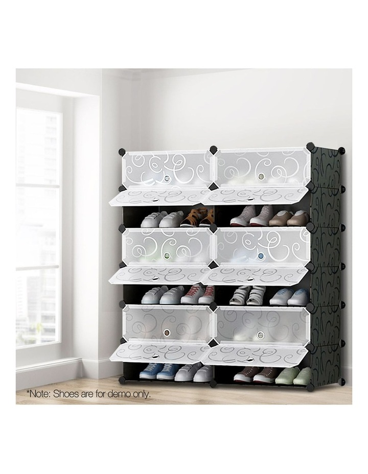 12 Cube Diy Stackable Shoe Rack Storage Cabinet - Black & White image 7