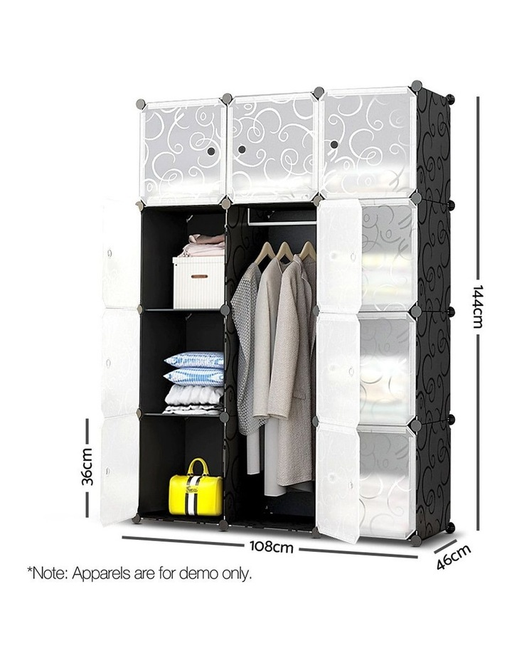 12 Cube Portable Storage Cabinet Wardrobe - Black image 2