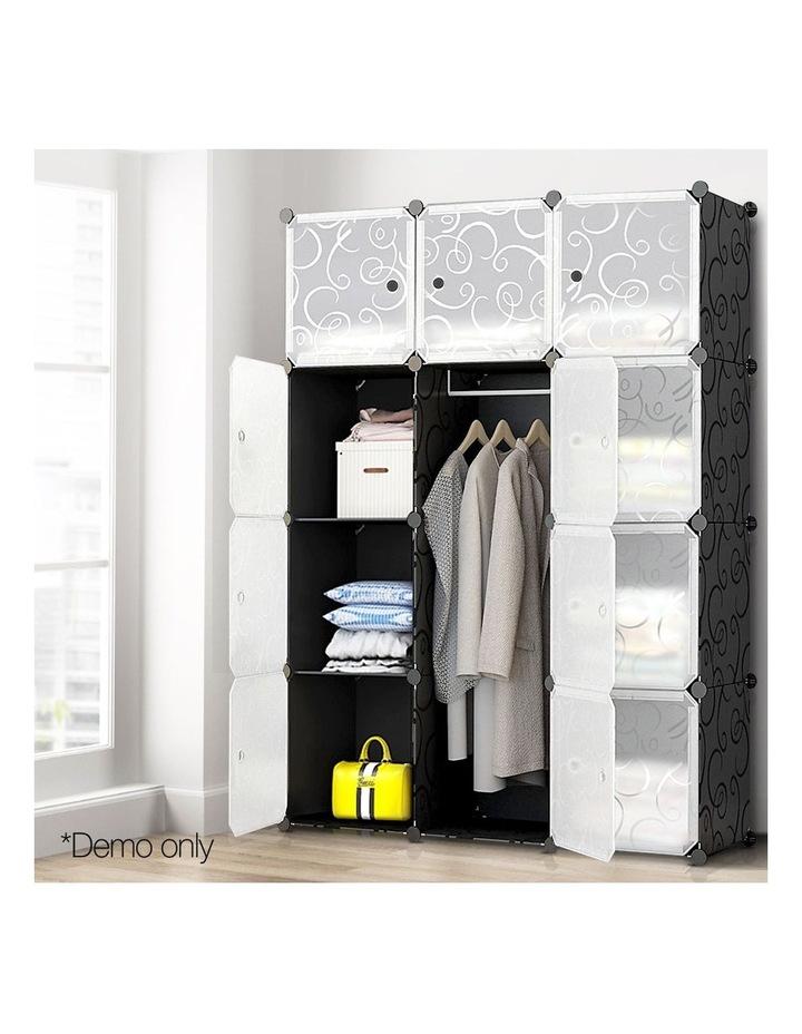 12 Cube Portable Storage Cabinet Wardrobe - Black image 3