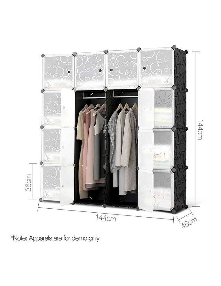 16 Cube Portable Storage Cabinet Wardrobe - Black & White image 2