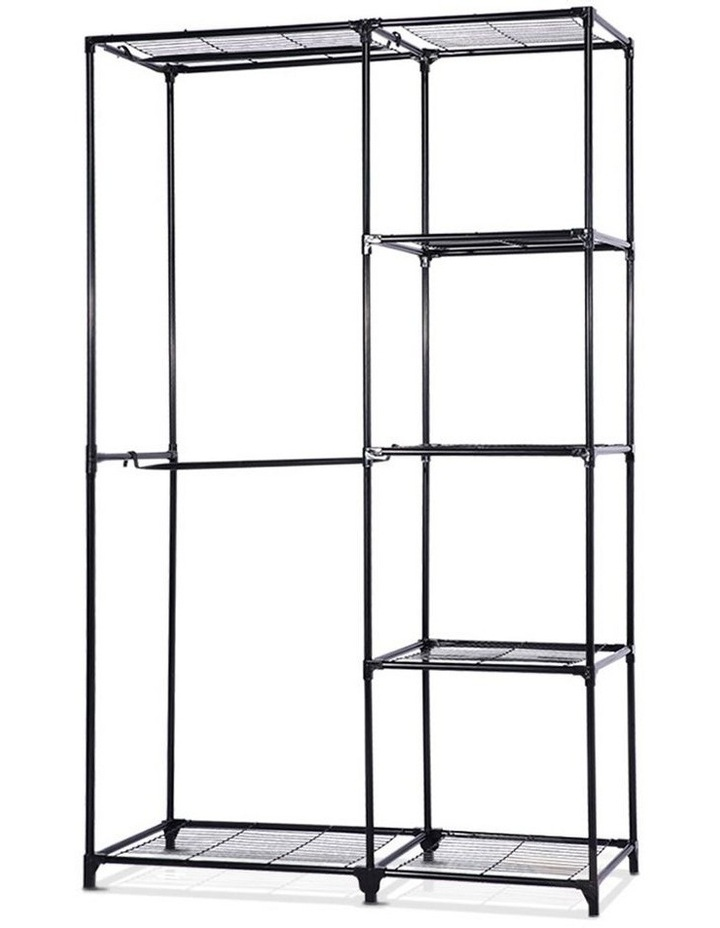 Portable Closet Organizer Storage Rack Clothes Hanger Rail Garment Shelf Rack Black image 1