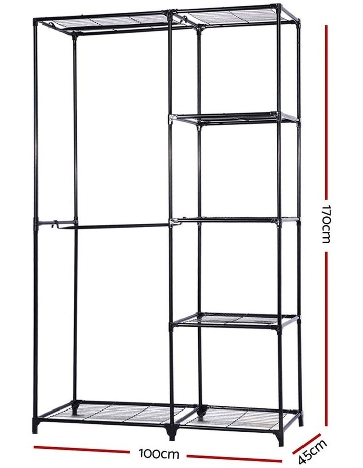 Portable Closet Organizer Storage Rack Clothes Hanger Rail Garment Shelf Rack Black image 2