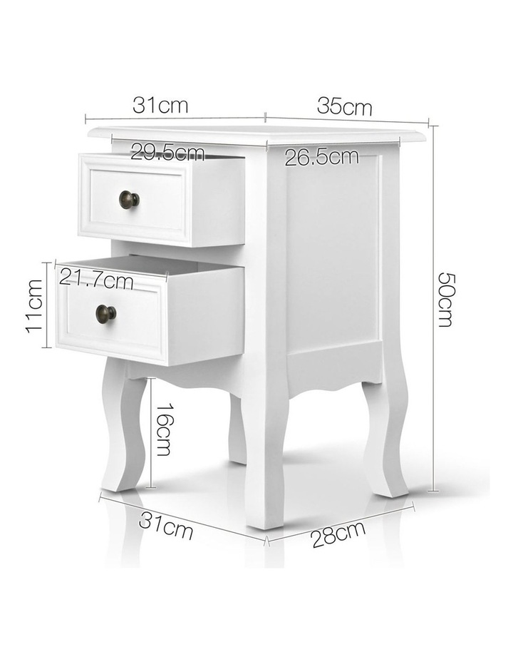 Bedside Table French Provincial Lamp Cabinet 2 Drawers image 2