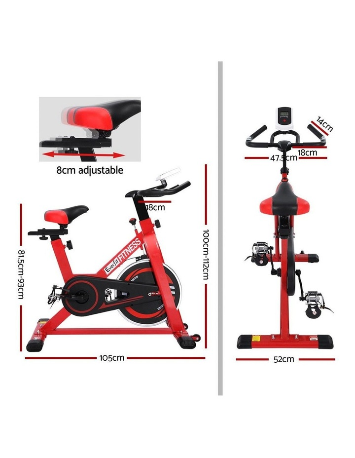 Everfit Spin Exercise Bike Cycling Fitness Commercial Home Workout Gym Red image 2