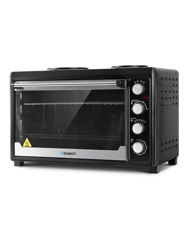 Devanti Electric Convection Oven Bake Benchtop Rotisserie Grill 60L Hotplate Black image 1