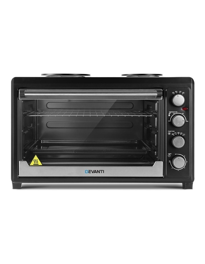 Devanti Electric Convection Oven Bake Benchtop Rotisserie Grill 60L Hotplate Black image 3