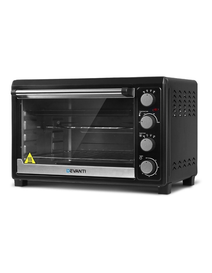 Devanti Electric Convection Oven Bake Benchtop Rotisserie Grill 45L Black image 1
