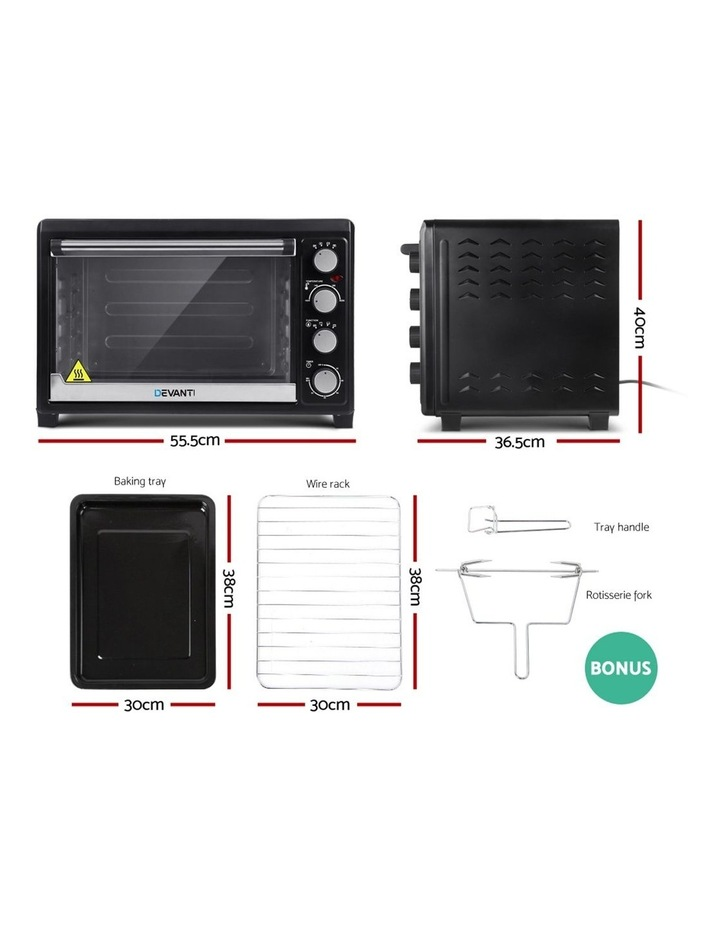 Devanti Electric Convection Oven Bake Benchtop Rotisserie Grill 45L Black image 3