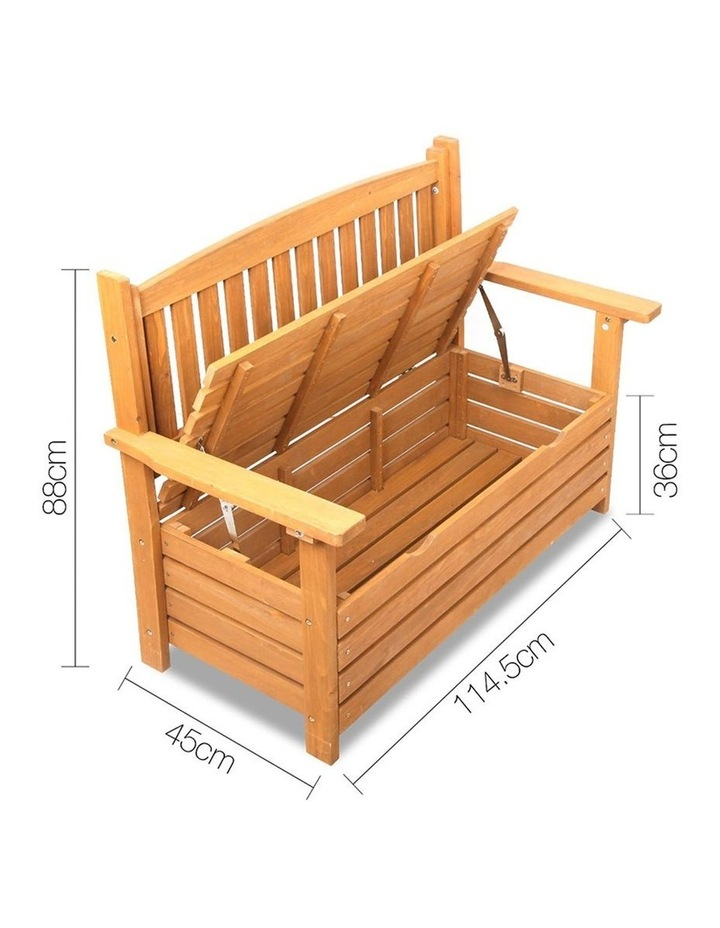 2 Seat Wooden Outdoor Storage Bench image 2