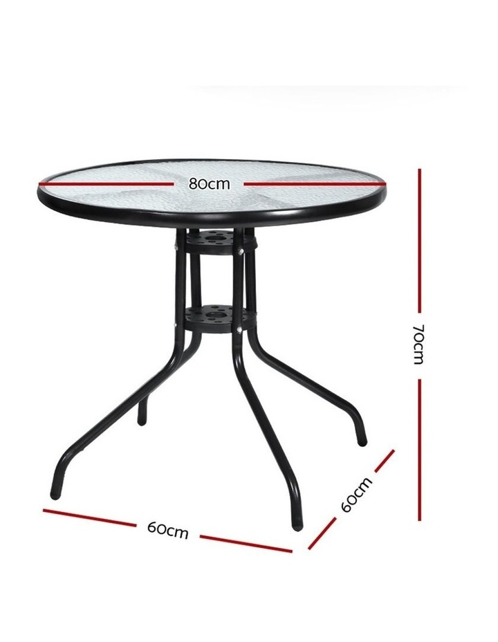 Outdoor Dining Table Bar Setting Steel Glass 70CM image 2
