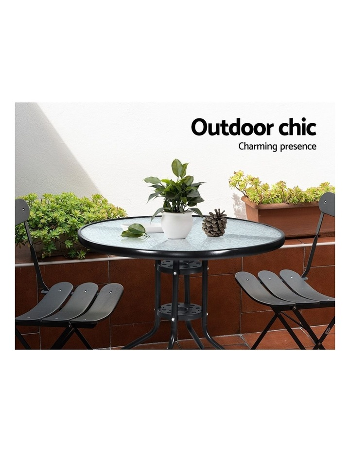 Outdoor Dining Table Bar Setting Steel Glass 70CM image 5