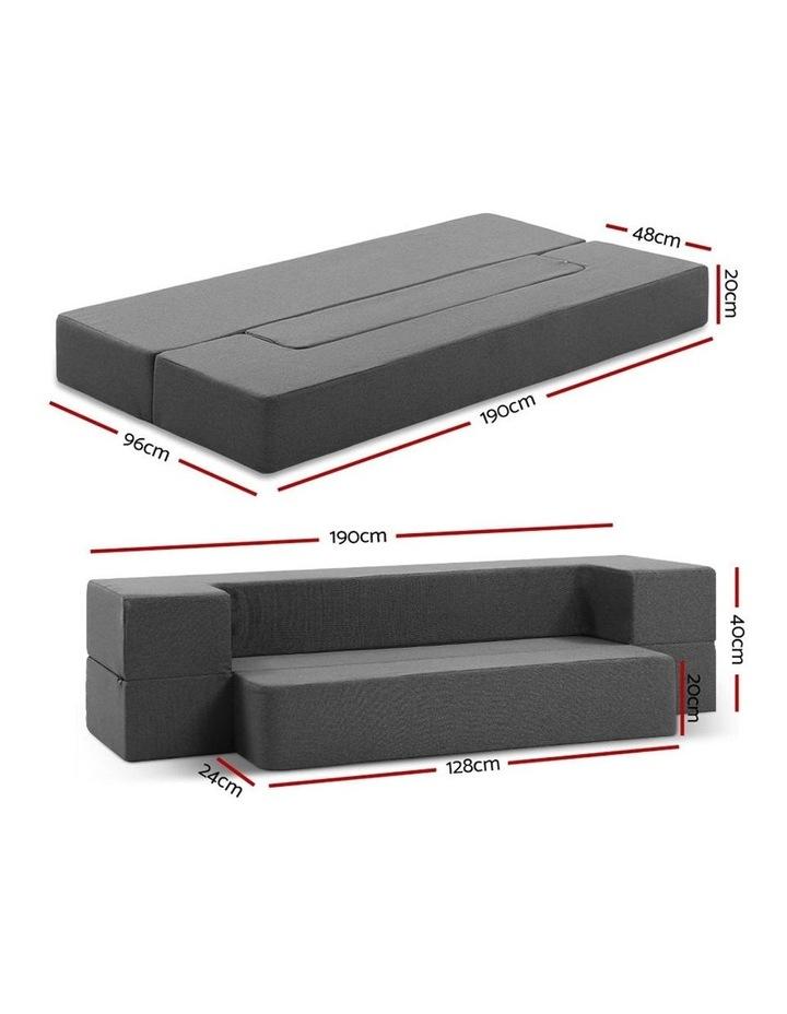 Portable Sofa Bed Folding Mattress Lounger Chair Ottoman Grey image 2
