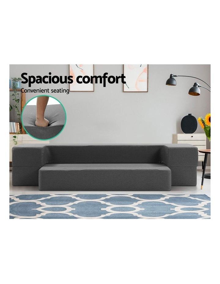 Portable Sofa Bed Folding Mattress Lounger Chair Ottoman Grey image 3