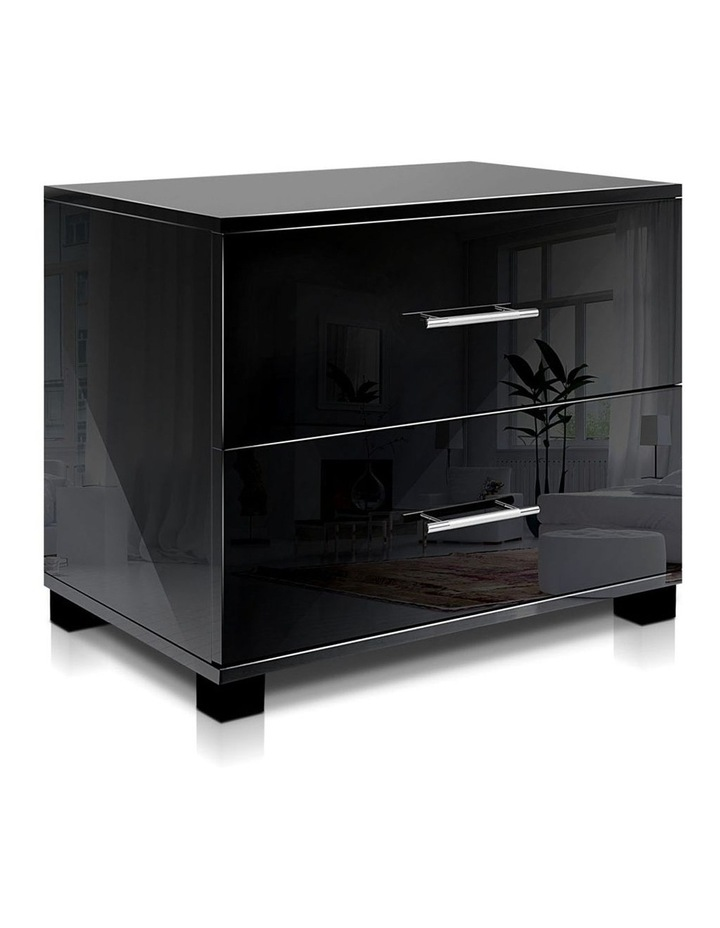 High Gloss Two Drawers Bedside Table image 1