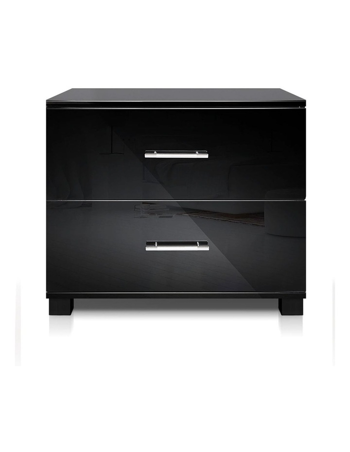 High Gloss Two Drawers Bedside Table image 3