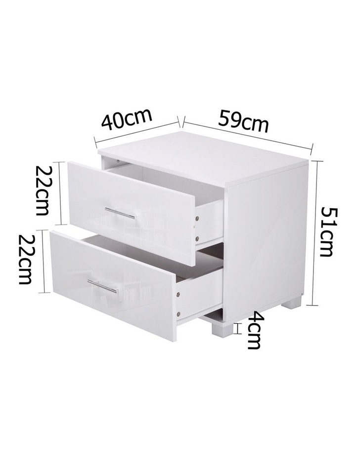 High Gloss Two Drawers Bedside Table image 2