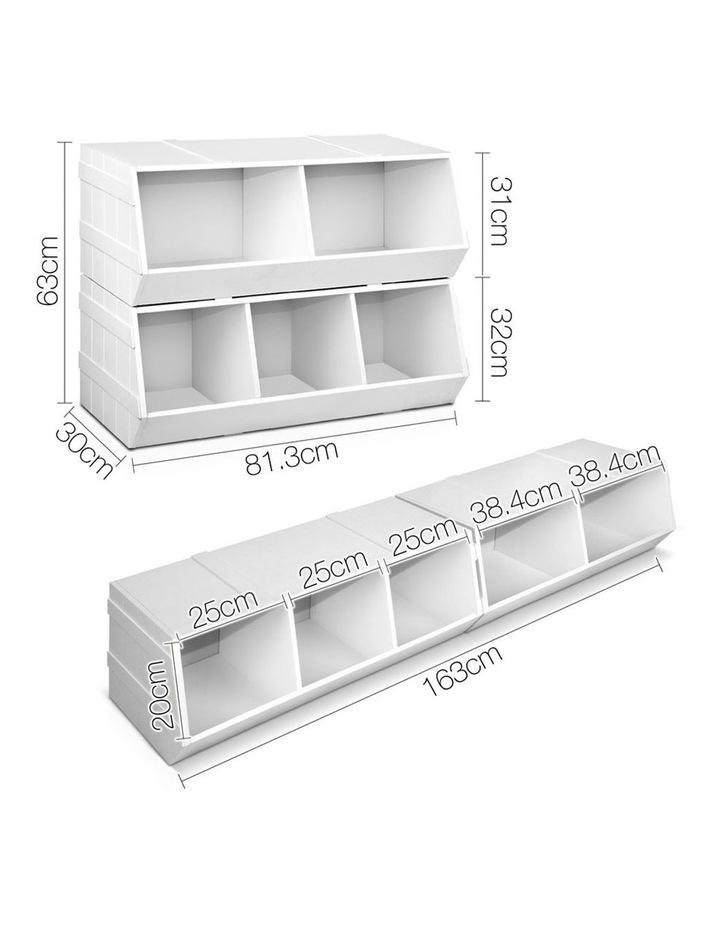 Keezi Kids Toy Box Bookshelf Storage Cabinet Stackable Bookcase Shelf Organiser image 2