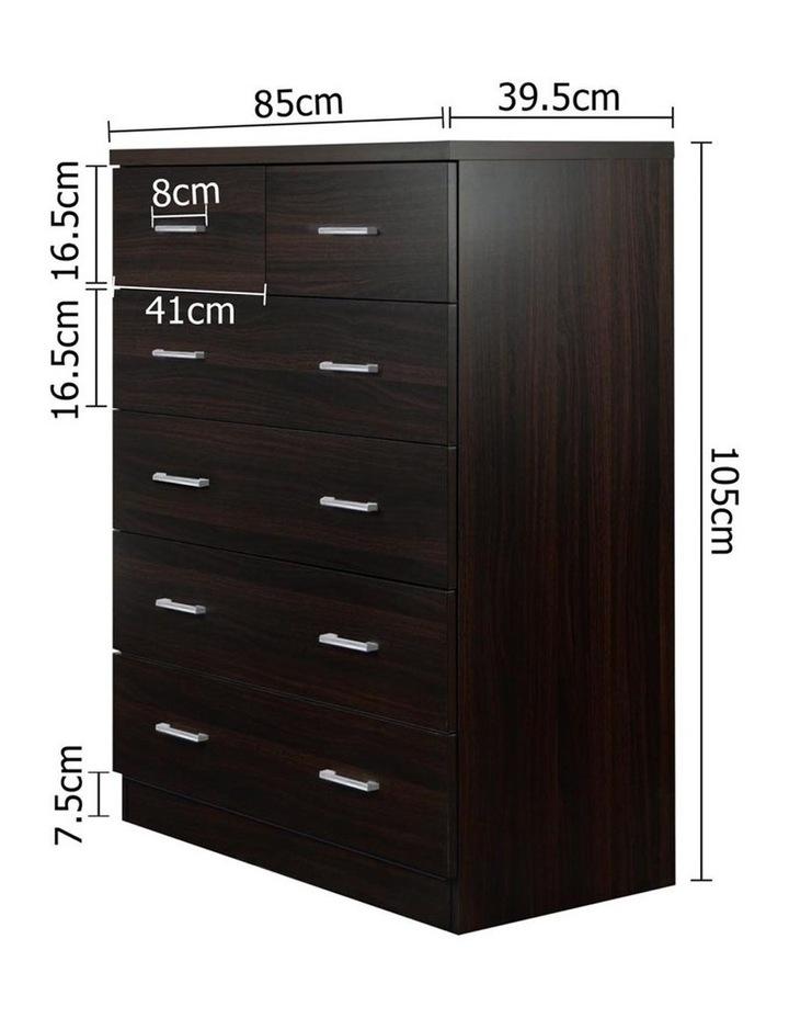 Artiss Tallboy 6 Drawers Storage Cabinet - Walnut image 2