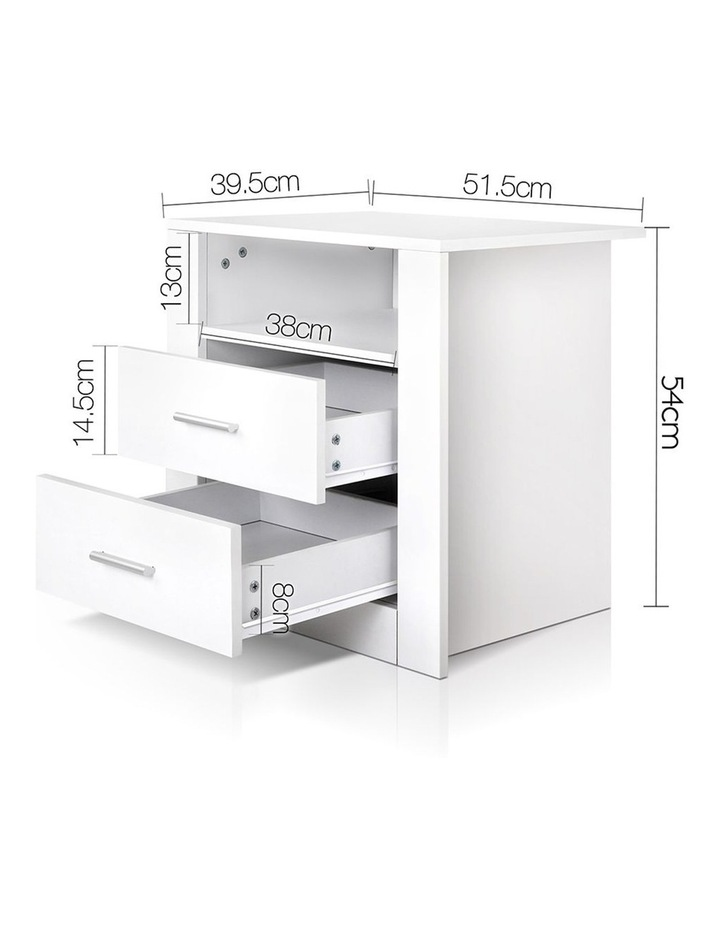 Artiss Bedside Tables Drawers Storage Cabinet Drawers Side Table White image 2