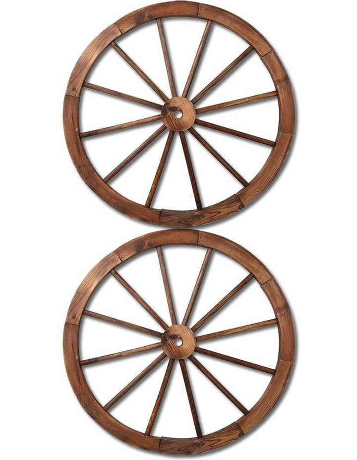 Set of 2 Wooden Wagon Wheel image 1