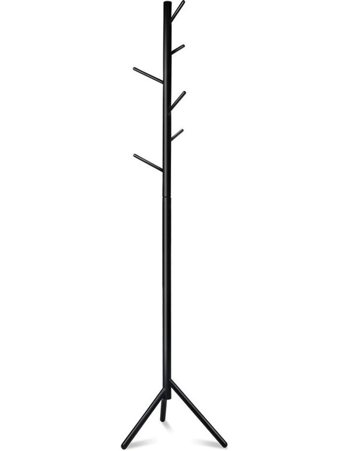 Artiss Wooden Clothes Stand with 6 Hooks - Black image 1